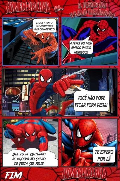 Convite digital homem aranha no elo7