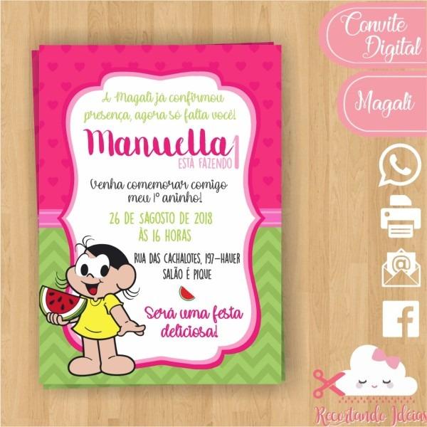 Convite digital magali 3 whatsapp no elo7