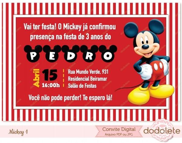 Convite digital mickey 1 no elo7