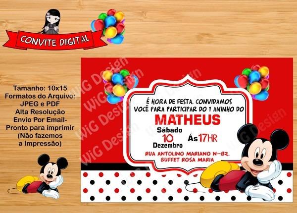 Convite mickey mouse digital no elo7