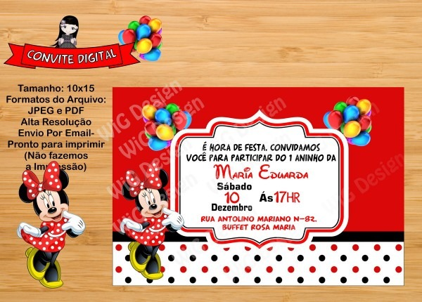 Convite digital minnie vermelha no elo7