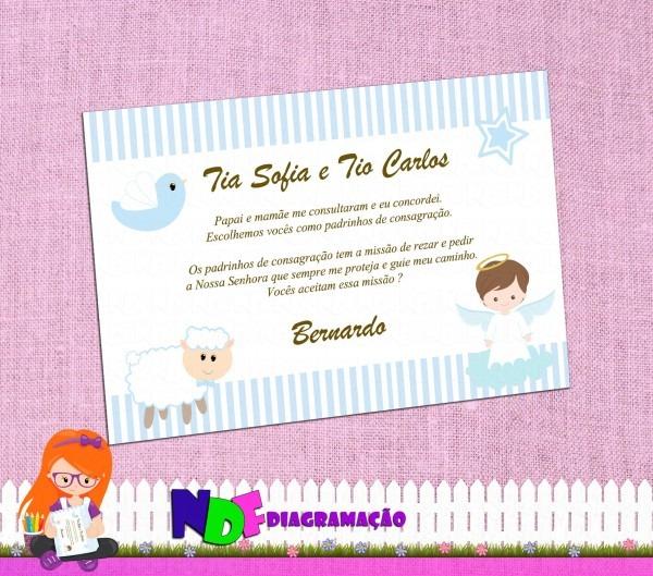 Caixa convite para padrinhos de consagração