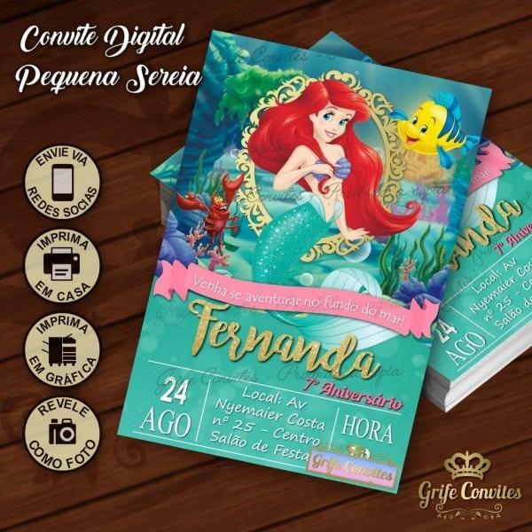 Convite digital pequena sereia ariel princesas disney