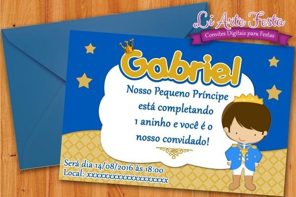 Convite pequeno príncipe (arte digital) + lacre grátis no elo7
