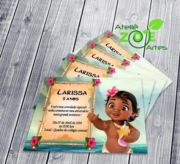 Convites personalizado aniversário moana baby 1 no elo7