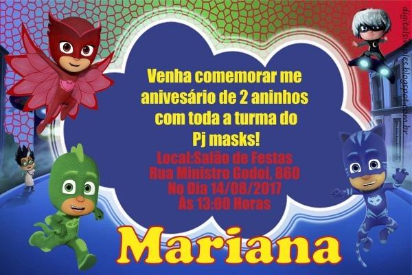 Convite digital pj masks no elo7