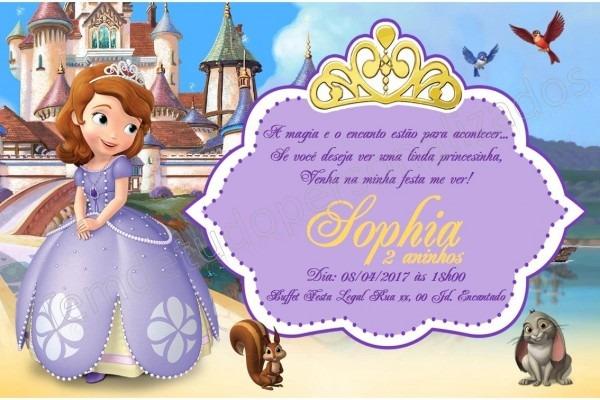 Convite digital princesa sofia envio em 24h por email