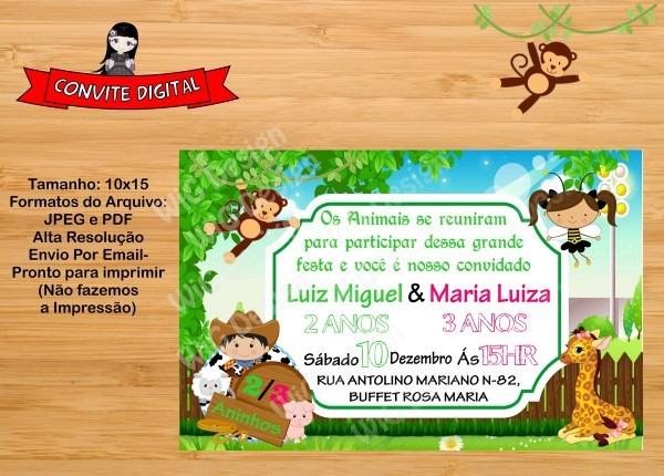 Convite digital safari e fazenda irmãos no elo7