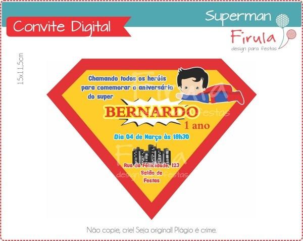 Convite digital super homem no elo7