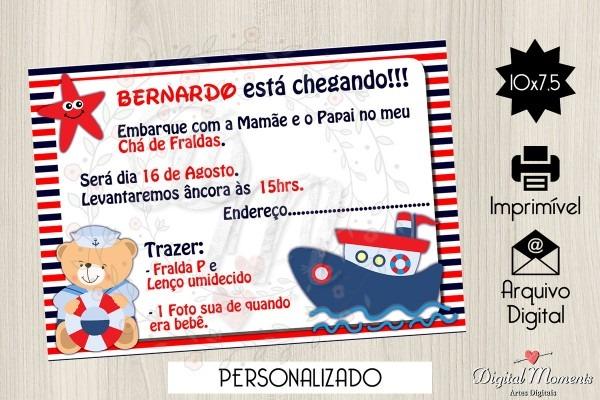 Convite digital ursinho marinheiro no elo7