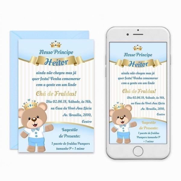 Convite digital ursinho príncipe chá de bebê fraldas virtual
