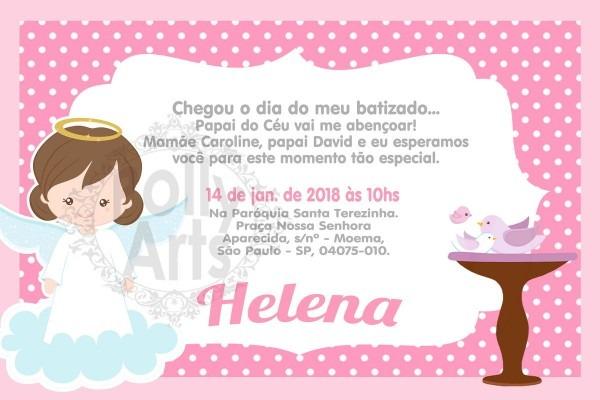 Menino ou menina convite digital virtual batizado batismo no elo7