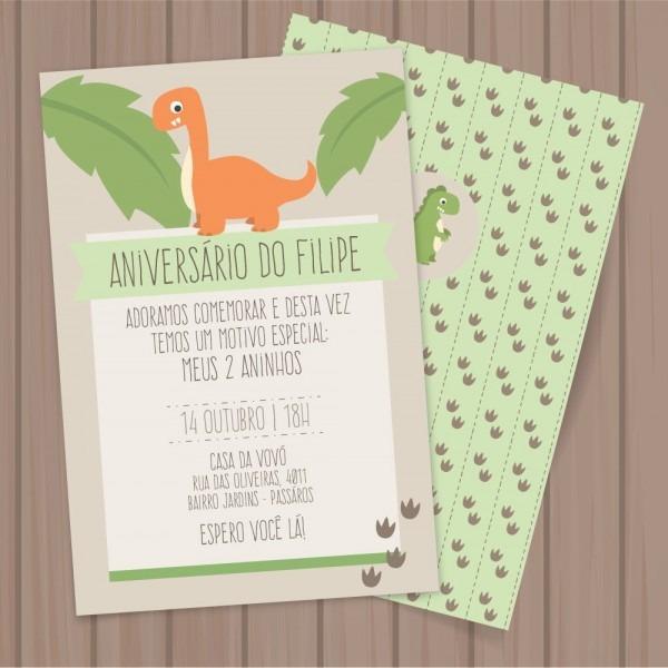 Convite dinossauro (editável) p imprimir no elo7