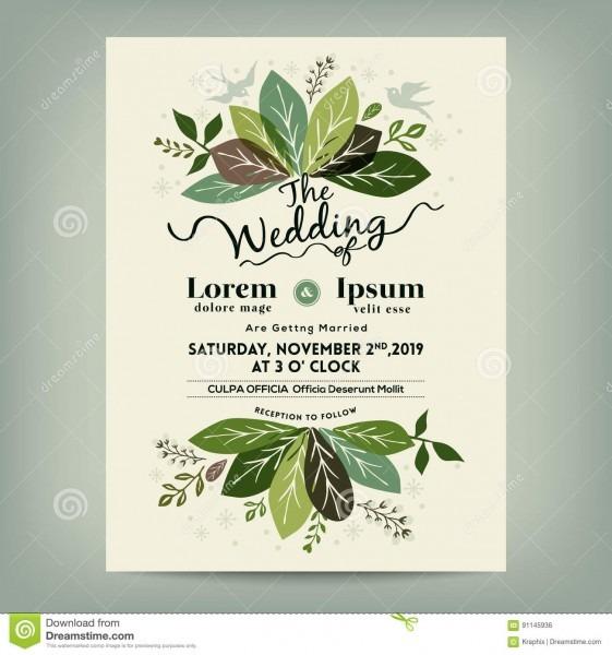 Convite do casamento com ramo floral verde das folhas ilustração