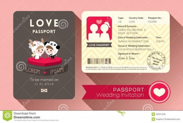 Convite do casamento do passaporte ilustração do vetor