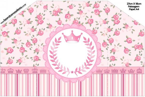 Convite envelope coroa de princesa rosa floral