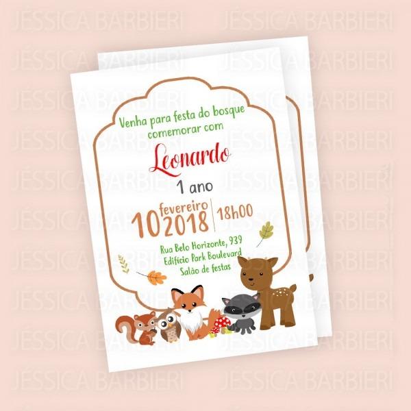Convite festa aniversario animais do bosque no elo7
