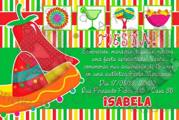 Convite festa mexicana no elo7