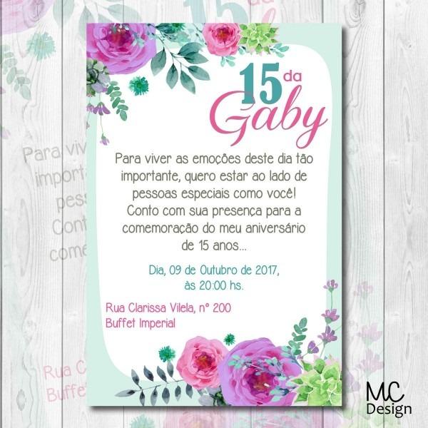 Convite floral 15 anos