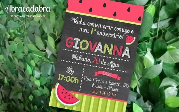 Convite frutas melancia magali digital