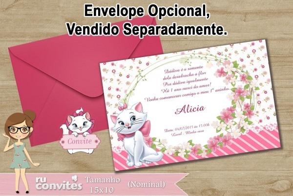 Convite gatinha marie (533) no elo7