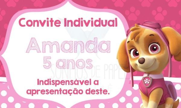 Convite individual patrulha canina rosa no elo7