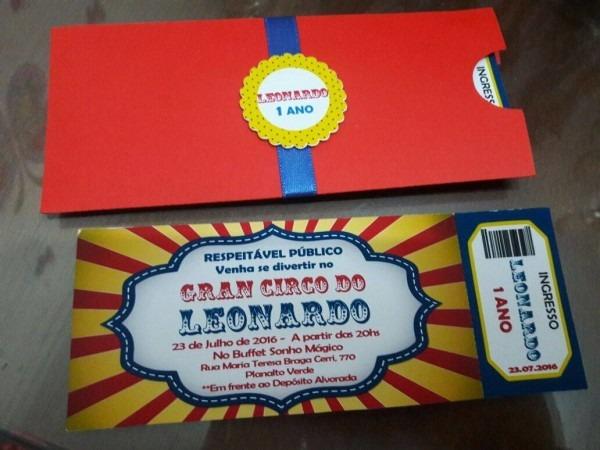 Convite tipo ingresso com envelope no elo7