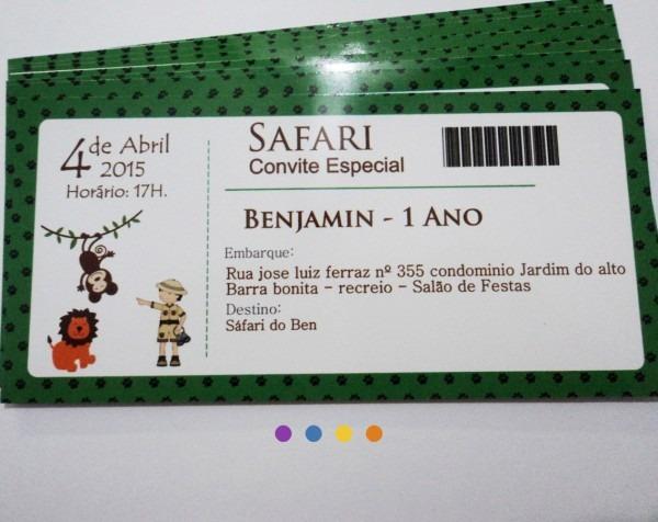 Convite ingresso safari no elo7
