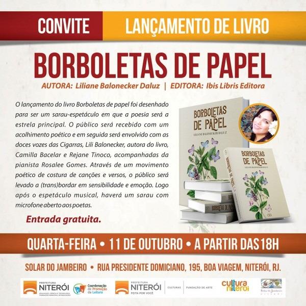 Convite do lançamento do livro borboletas de papel