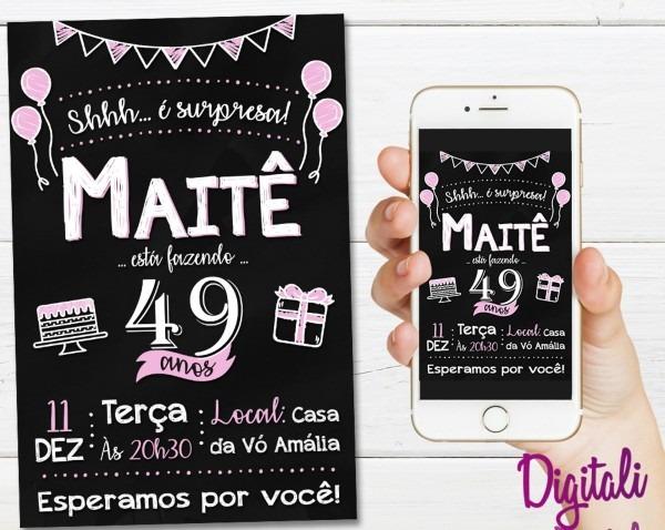Convite lousa aniversário surpresa rosa