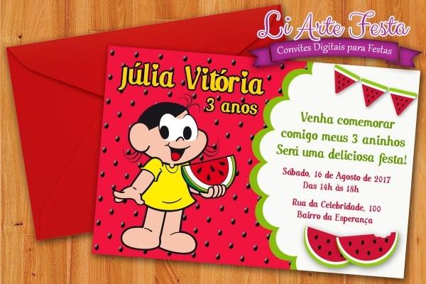 Convite melancia (arte digital) + lacre envelope grátis no elo7