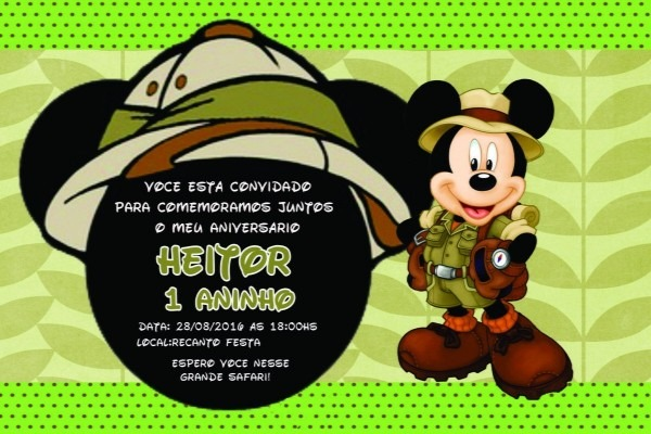 Convite mickey safari 10x15 com o preço de 1,30 a unidade