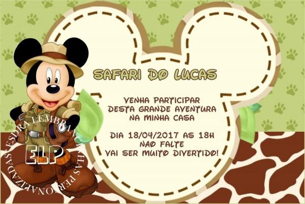 Convite mickey safari com envelope no elo7