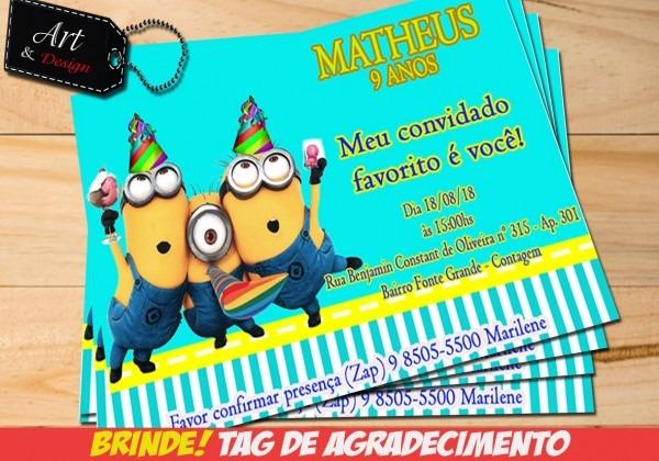 Convite minions arte digital + tag de brinde m03