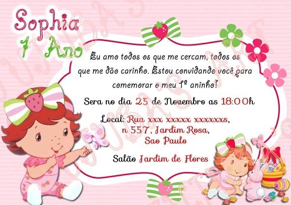 Convite moranguinho baby com envelope no elo7