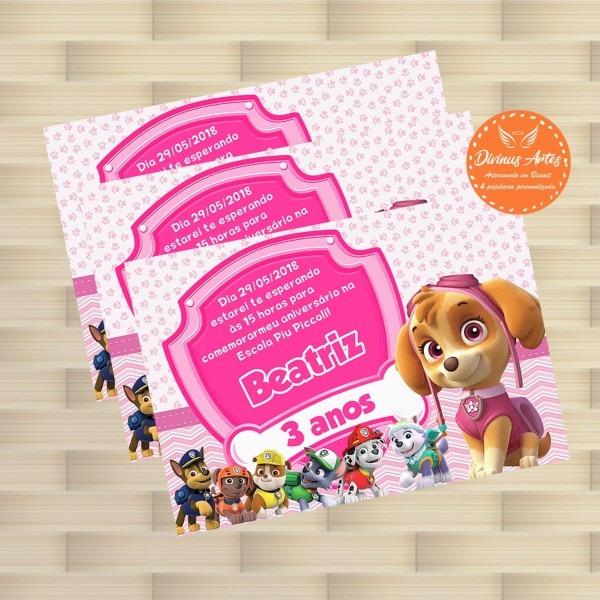 Convite patrulha canina rosa 10 x 7 cm no elo7