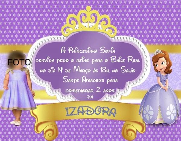 Convite personalizado com foto princesa sofia