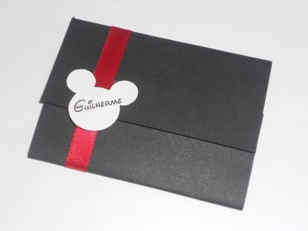 Convite personalizado mickey preto no elo7