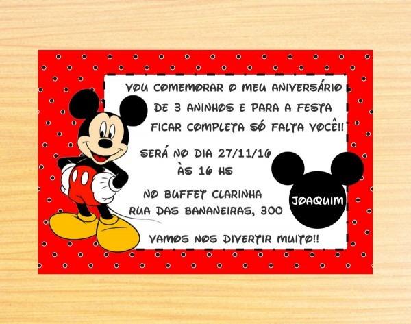Convite personalizado mickey no elo7