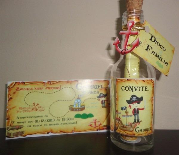 Convite piratas pirata infantil garrafinha com 10 unidades!