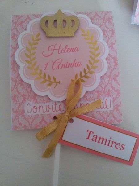 Convite pirulito princesa realeza no elo7