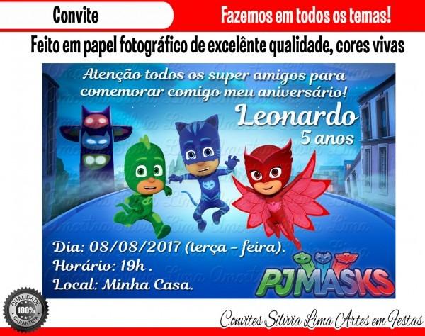 Convite pj masks no elo7