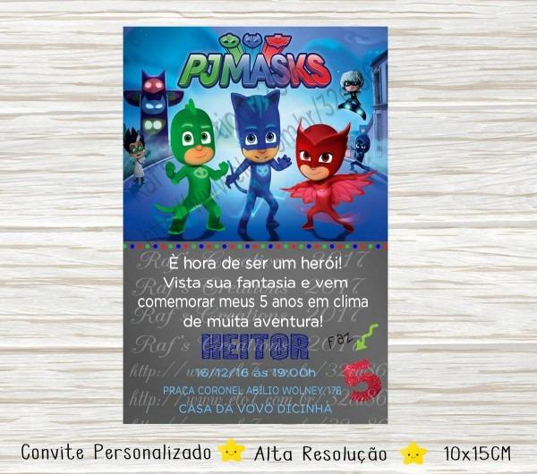 Convite pj masks digital no elo7