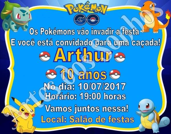 Convite pokemon go no elo7