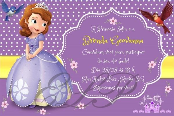 Convite da princesa sofia no elo7