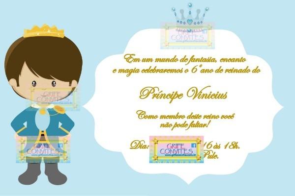 Convite príncipe menino para imprimir
