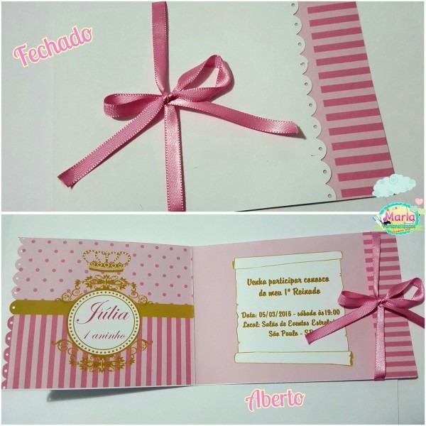 Convite realeza rosa no elo7
