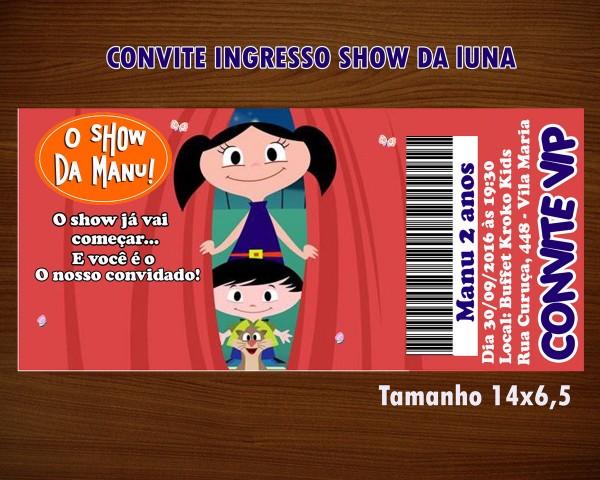 Convite ingresso show da luna no elo7