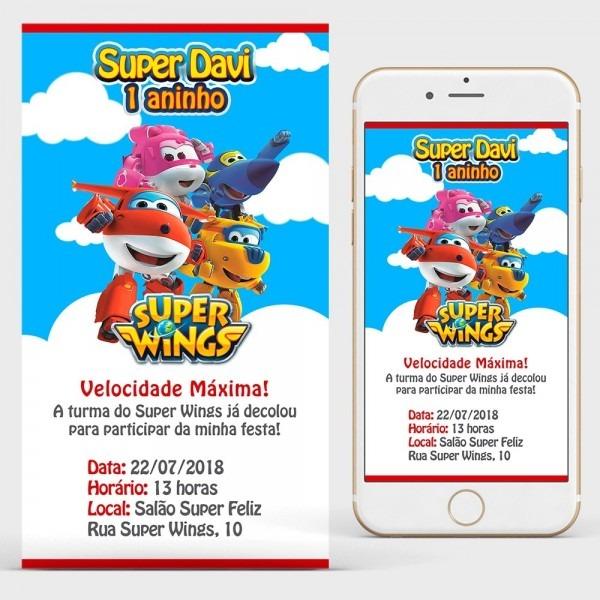Convite super wings arte digital para whatsapp