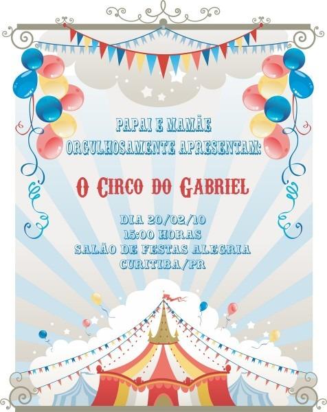 Convite tema circo no elo7